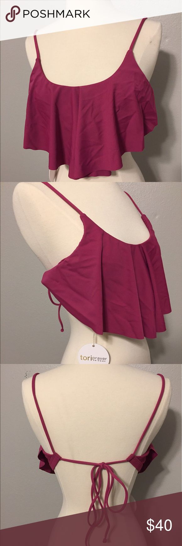 Tori Praver Flowy Swimsuit Top Never worn! Absolutely love this swimsuit top, ordered online, thought I would wear it and never did! Strings can be pulled tight to adjust the comfort of the top. Tori Praver Swimwear Swim Bikinis