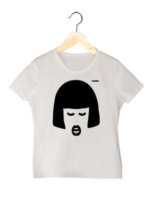 Camiseta de algodón orgánico en color blanco para chica LVBM  www.strambotica.es