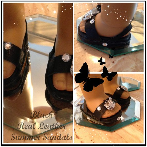 American Girl Doll Real Leather Black Sandals W/Metal Hello Kitty Face