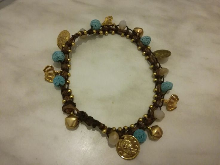 Ankle bracelets gold blue,  goutsouniarika kosmimata