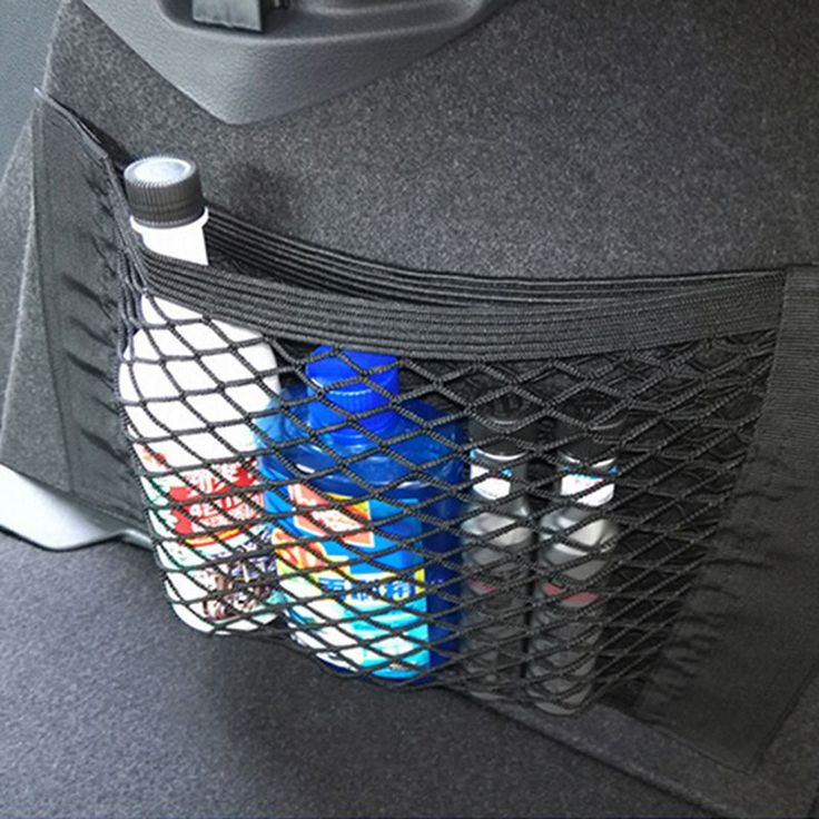 Helpful Car Bag Luggage Holder Universal Car Bag Net Seat Storage Mesh Net Organizer Pocket Sticker Trunk Strong Magic Tape