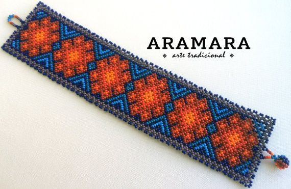 Mexican Huichol Beaded Peyote Bracelet PG-0018 Mexican by Aramara