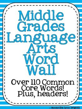 This packet contains 110 vocabulary word cards that will serve as a valuable resource for your students and an attractive addition to your classroom. This packet also contains word wall headers and blank cards for personal additions to your classroom. There is everything you need to get started! The Common Core places a large emphasis on vocabulary acquisition of words.Each of the cards is drawn from the middle grade band (6-8).