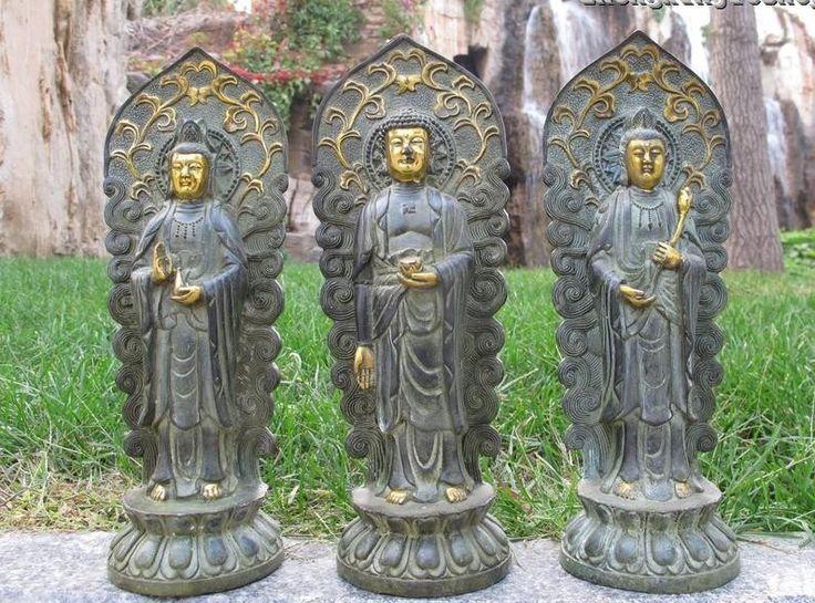 "11""Tibet Fane Classical Bronze Gilt Three Saints of the West Buddha Kwan yin Set free shipping #Affiliate"