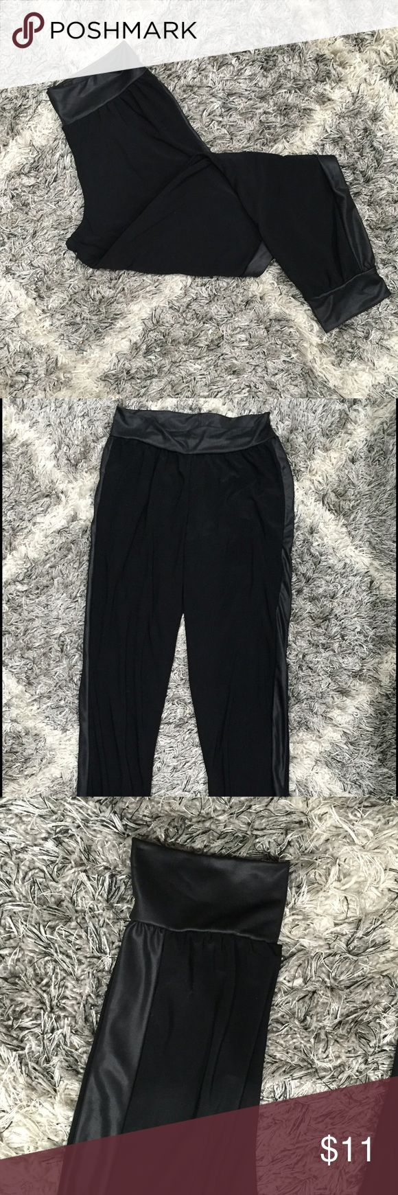 Black Dressy Genie Pants Black dressy genie pants with shiny black trim around waist, ankles and down the sides. Never Worn. Size Small Pants Ankle & Cropped