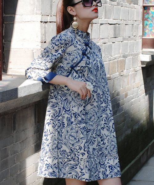 Chinese style cheongsam flax ethnic tops