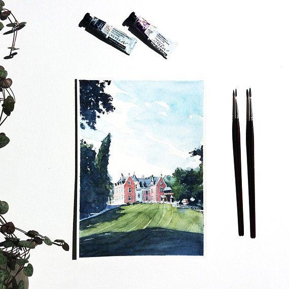Peinture Chateau France Aquarelle Originale Chateau Clos Luce