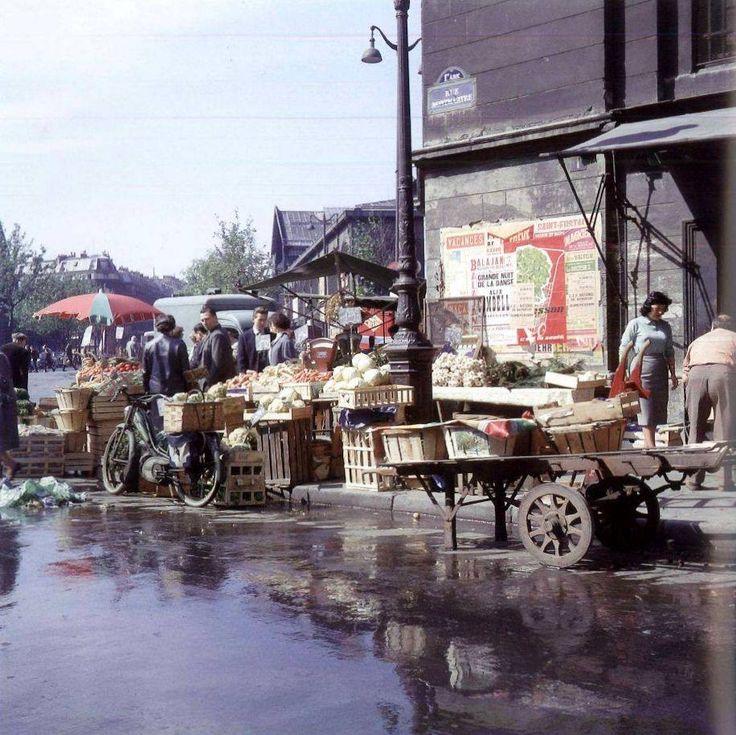 Jour de marché... Les Halles en 1960 Photo Jean Jéhan