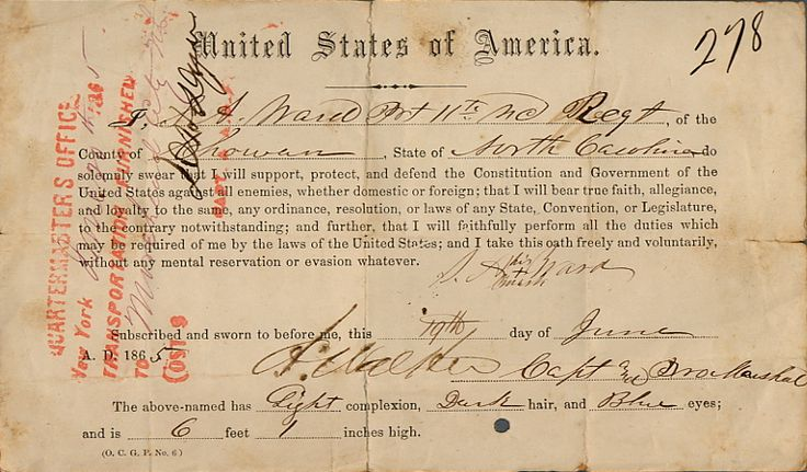 Private Anderson S. Ward, Company F,  11th North Carolina Infantry was captured April 3, 1865 at Petersburg and sent to prison at Hart Island, New York. He signed a oath of Alliegance on June 19, 1865