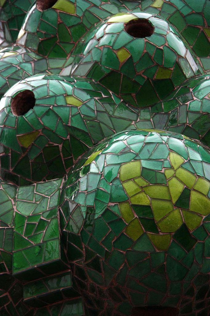 Chimney mosaic detail. Palau Güell. Barcelona, Spain. 1886-8. Antoni Gaudi.