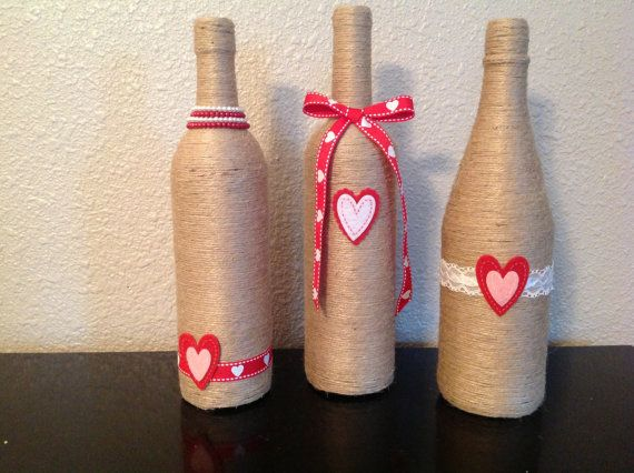 Valentine's twine wine bottles by NorthwestdesignsbyHH on Etsy, $30.00