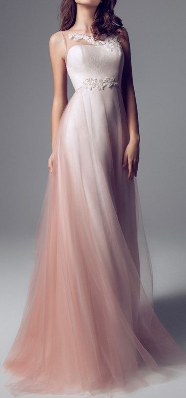 Truly beautiful, is an understatement. This dress is exceptionally beautiful. I adore the softness, that comes from the sheer white material, melting into a lovely light peach color. I love, love it !!!!!