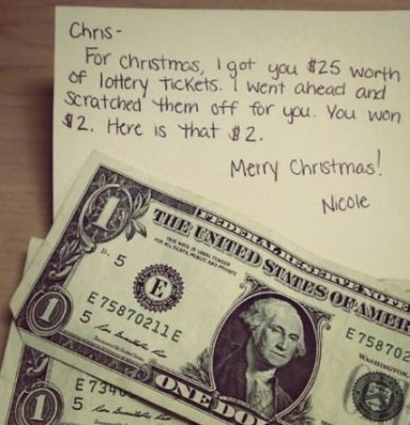 Lol! I think I'll write this and include the $2, but tape the actual $$ on the back of the card to tease the kids and use it as a stocking stuffer!