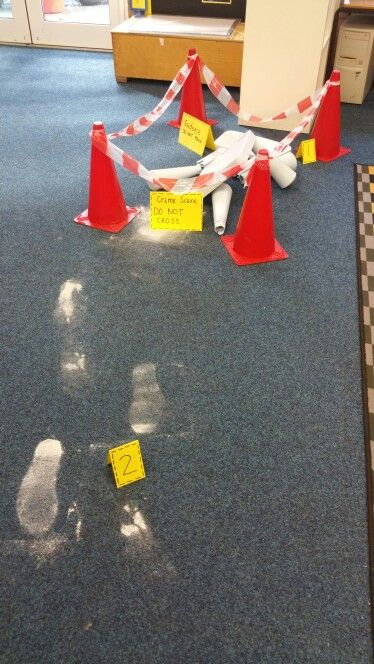 Eyfs crime scene!!! The children came in to a broken chair and footprints...and it wasn't goldilocks! !!