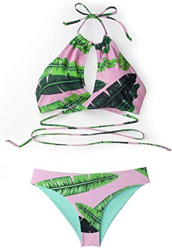 Best Seller CUPSHE Women's Pink Banana Leaf Print Wrap High Neck Bikini online