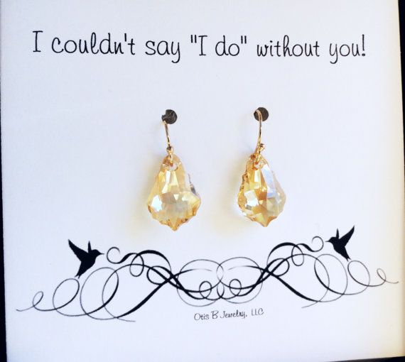CHOOSE YOUR COLOR Swarovski Crystal Drop earrings for Bridesmaids, Bridal jewelry gift set, Crystal earrings for weddings, be my bridesmaid
