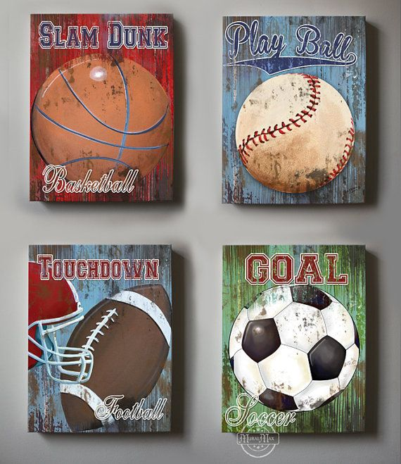 Wall decor sports set of 4 canvas art sports room decor for Sports themed bathroom decor