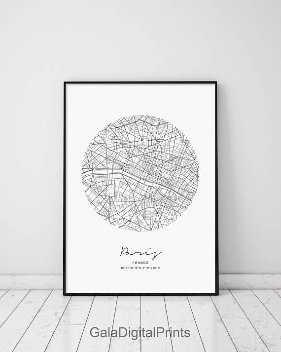 Circle Map Paris Circle City Map Circle Paris Map Print