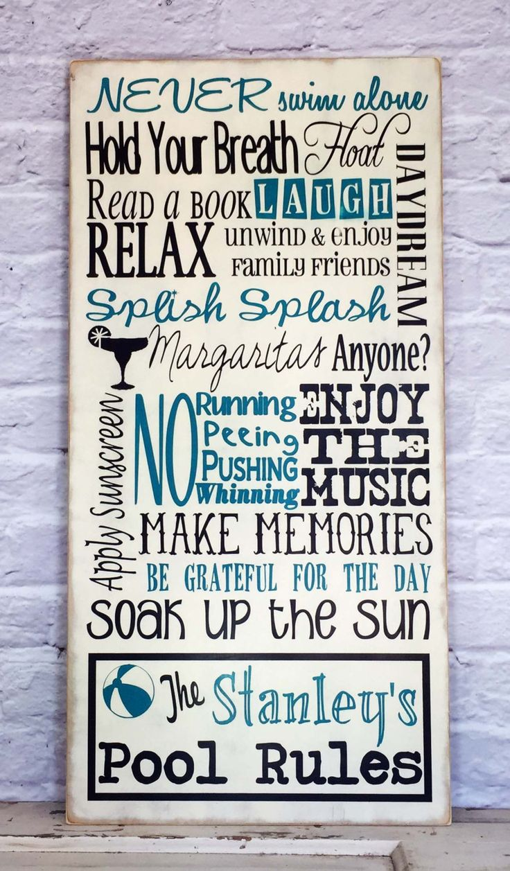 Pool Rules Sign, Personalized Family Pool Rules Sign, Swimming Pool Sign, Pool House Sign by MadiKayDesigns on Etsy