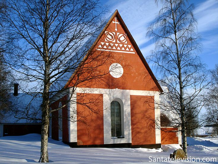 Kalix church in Swedish Lapland during Christmas time