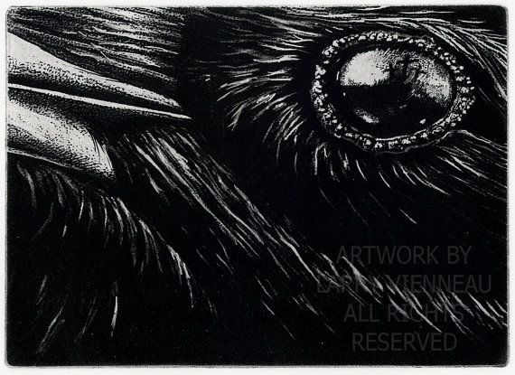 Raven Series. The Meeting - SYNCRETISM of APRIL 3, 33 CE- Intaglio Etching Black , Blue Black  or brown ink5 in. x 7 in. 2010-12