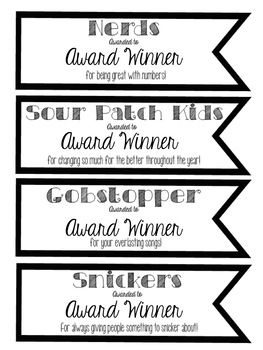 Editable End of Year Candy Bar Awards
