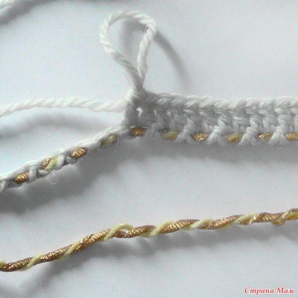 Этот вариант наборного ряда позволяет использовать в качестве дополнительной пряжу любой толщины, и даже шнур.