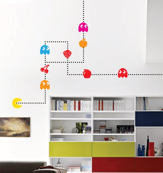 mollsdesigns: Pacman Characters Wall Decal Game Vintage Pixels. Custom vinyl wall stickers, from geeky to rocker to tranquil nature images. She even creates custom designs (unheard of).