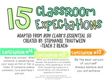 Ron Clark's Essential 55 inspired me to create these 15 classroom expectation posters. I have combined, reworded, and quoted rules from the book. I plan on displaying these posters in my classroom as a visual reminder for my students. There are 15 expectations listed that I found fitting for my elementary students to be able to understand and remember.