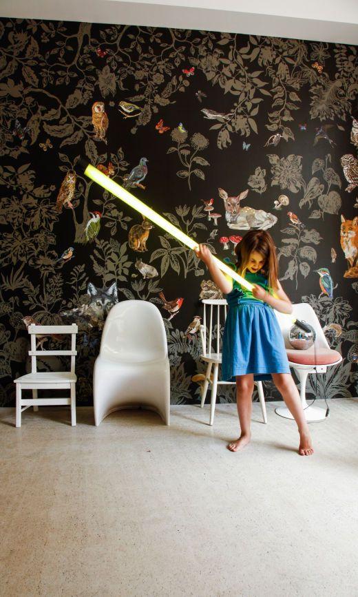 chambre d'enfant papier peint forêt noire