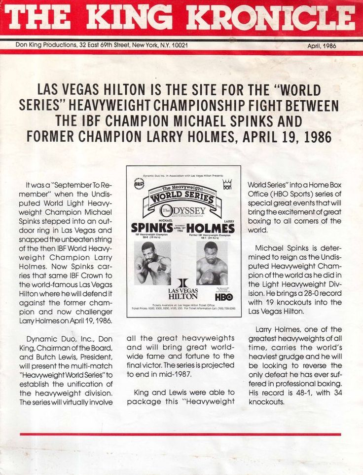 MICHAEL SPINKS v. LARRY HOLMES APRIL 19, 1986 DON KING'S THE KING KRONICLE