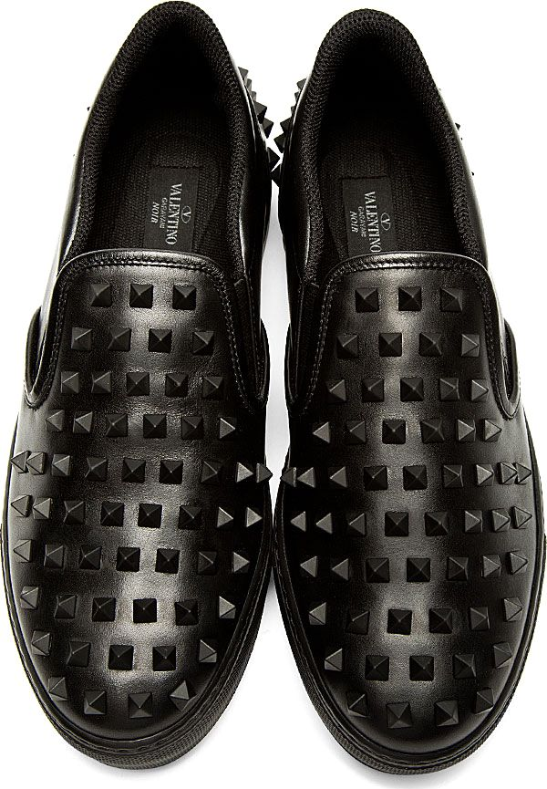 Valentino: Black Leather Studded Slip-On Shoes