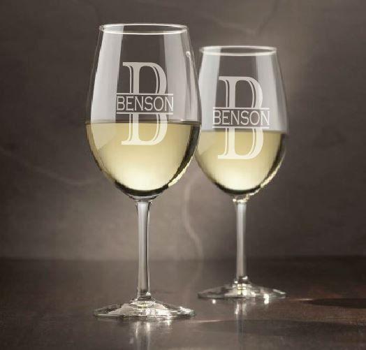 Monogram Wine Glasses (Set of 4) - wine glasses, engraved wine glass, wine glass, etched wine glass, personalized, monogram wine glass by sketchedglass on Etsy