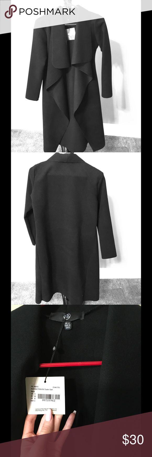 Black Waterfall Coat NWT. Long (duster length), thick material, no pockets, long sleeves. Missguided Jackets & Coats