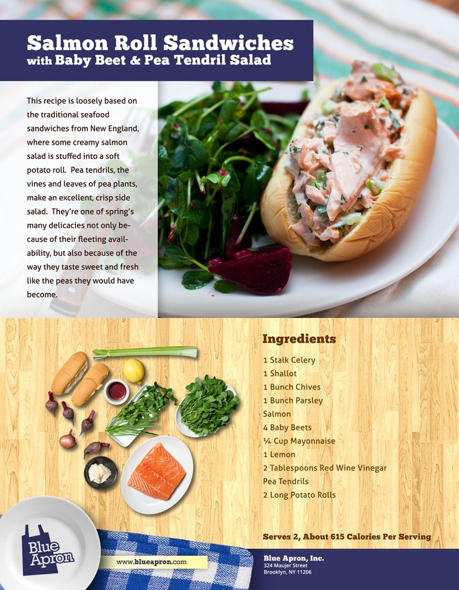 Salmon Roll Sandwiches with Baby Beet  Pea Tendril Salad - Blue Apron