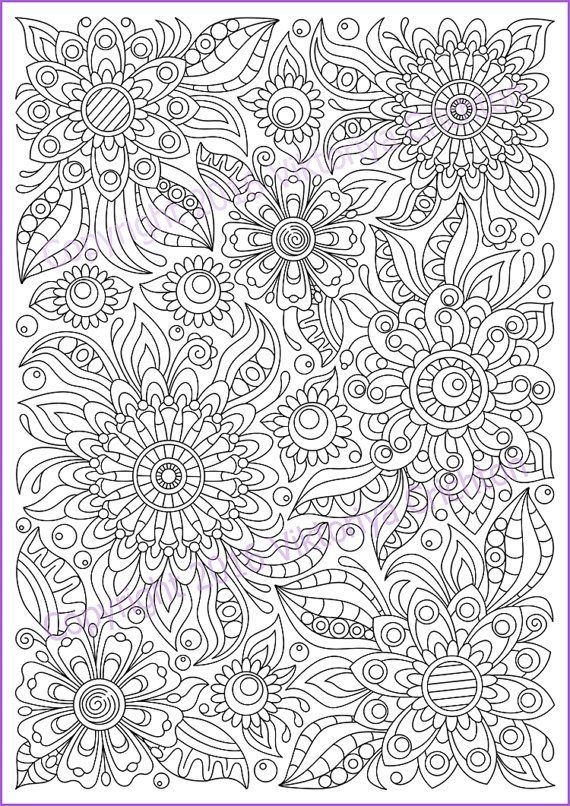 Сoloring Page Doodle Flowers Printable For Adults Zen