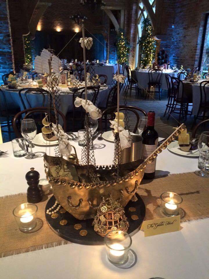 Pirate ship wedding centrepiece.  #centerpiece #wedding #pirate