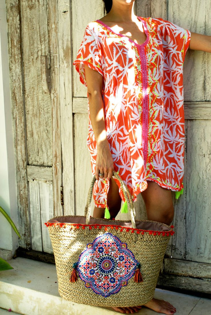 Kaftan tassels/Beach tunic/Beach cover up/Short dress/Resort wear * PALM KAFTAN by JavaSpirit on Etsy