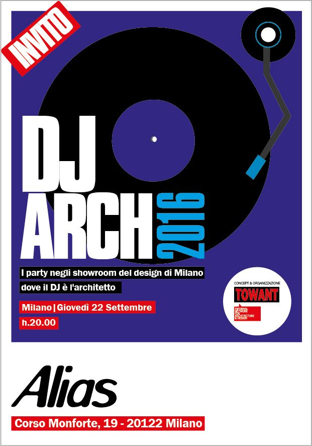 DJ ARCH 2016 @ Alias SHOP / 22.09.16 ore 20  Vi aspettiamo :-) RSVP shop@alias.design