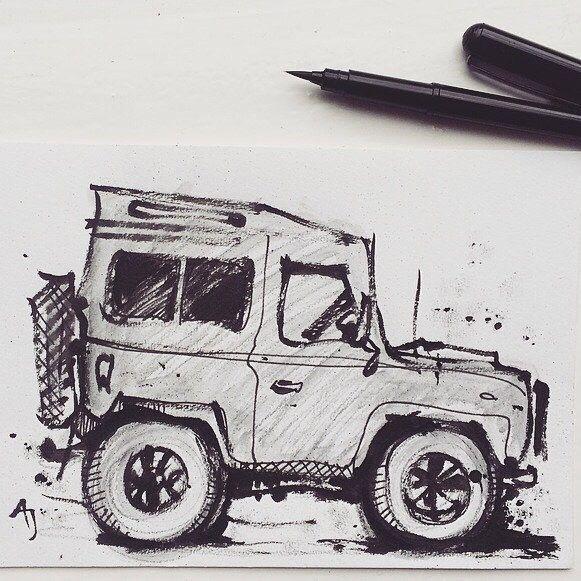 Land Rover Defender for sale (drawing of) in my Etsy shop.#AJ #andreajoseph #andreajosephartwork