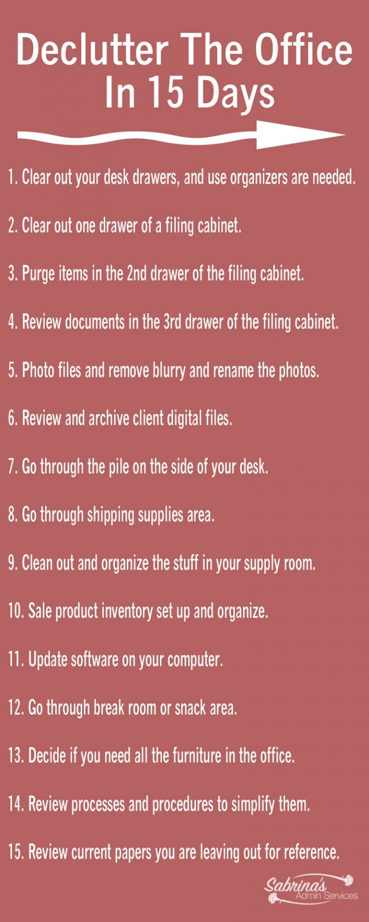 Declutter The Office In 15 Days - business organization tips to streamline your office space by @smqorgadm - sabrinasadminservices.com