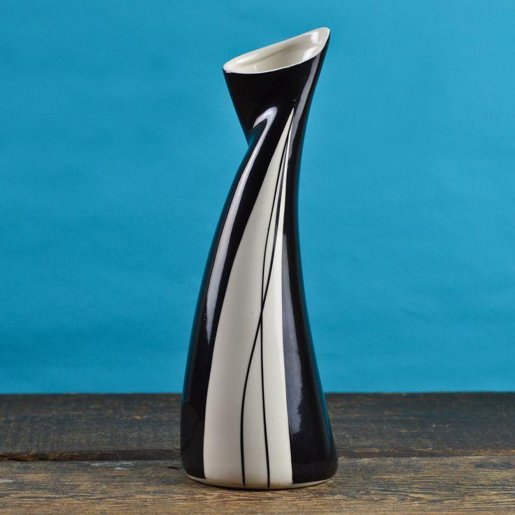 1950's 'Rock'n Roll' Vase by Danuta Duszniak #1950s #black #danuta-duszniak #mid-century #poland #prl #rock-n-roll #vintage #wawel #walbrzych #white