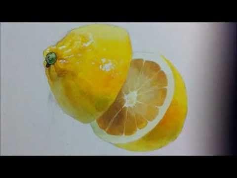 how to paint a lemon - YouTube