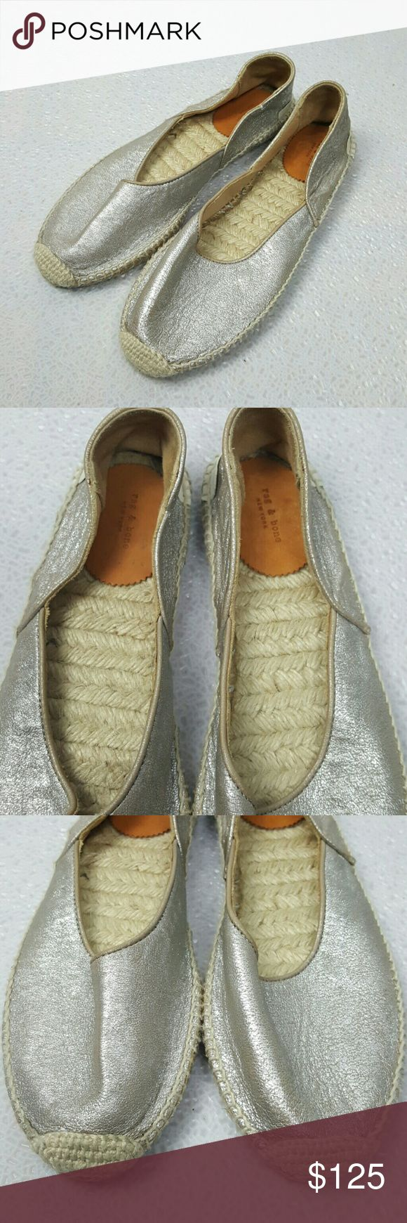 Rag & Bone gold metallic espadrille flats New without box  Made in Spain rag & bone Shoes Flats & Loafers