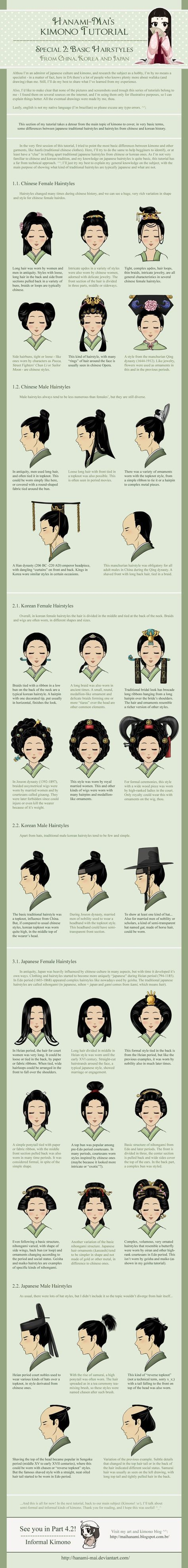 Kimono Tutorial - Hairstyles Special by Hanami-Mai.deviantart.com on @deviantART - Differences between Chinese, Korean, and Japanese hairstyles - I often see them getting mixed up in artwork, costumes, etc., so I'm glad to see a resource like this.