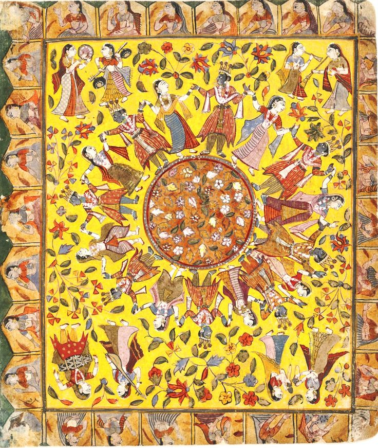 Rasalila, Gujarat, c.1720. Here Krishna is replicated eight times to pair with each gopi. This painting has a decorative floral ground that bursts in all directions equally, recalling the embroidered textiles for which Gujarat in western India is famous.