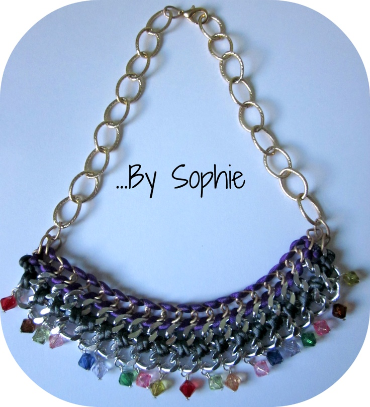 collar cadenas mixta colgante multicolor