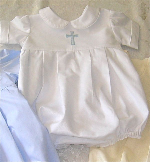 Boys White Christening Bubble with Cross - Luna Belle Boutique