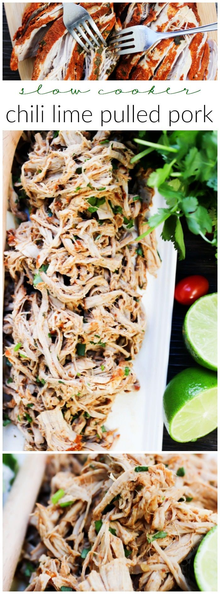 Slow Cooker Chili Lime Pulled Pork made with a chili rub, cooked in lime juice & fresh cilantro. This is the easiest, juiciest pulled pork…
