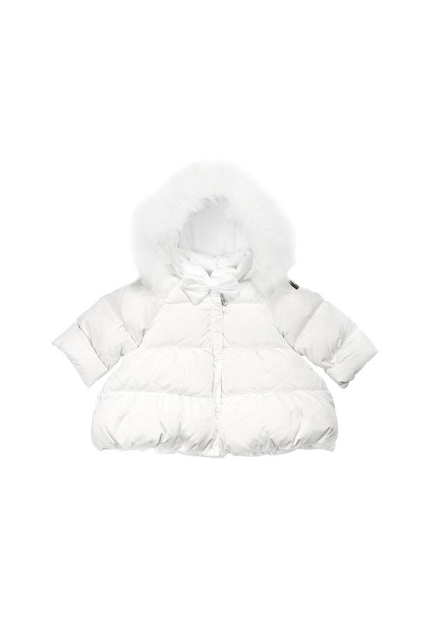 Nylon taffeta down-filled jacket with flared bottom and detachable collar and fur trim.  #ilgufo #fw13 #shopping #downjacket #fashionkids #childrenswear #fashion #musthave #newborn #girls